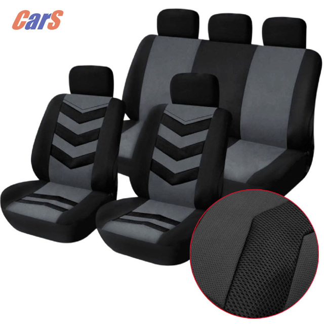 9Pcs/Lot Car Cover Set Universal Car Seat Cover Breathable Mesh Sponge Seat-Cover Durable Covers for Car Seats Black Blue