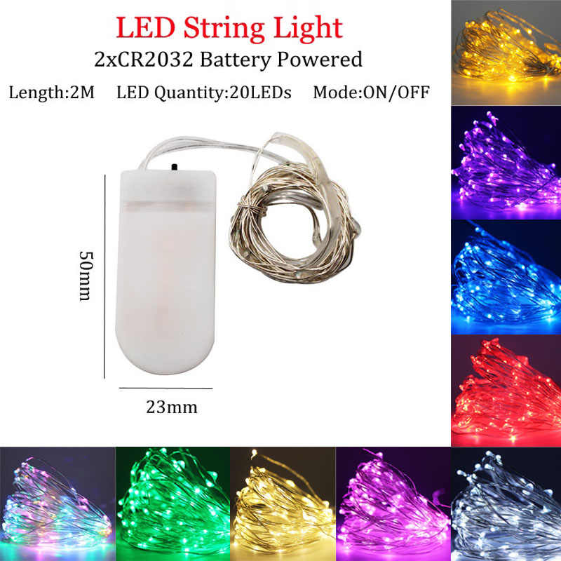 LED String lights 2M Silver Wire Fairy light Christmas Wedding Party Decoration Powered by Battery USB led Strip lamp