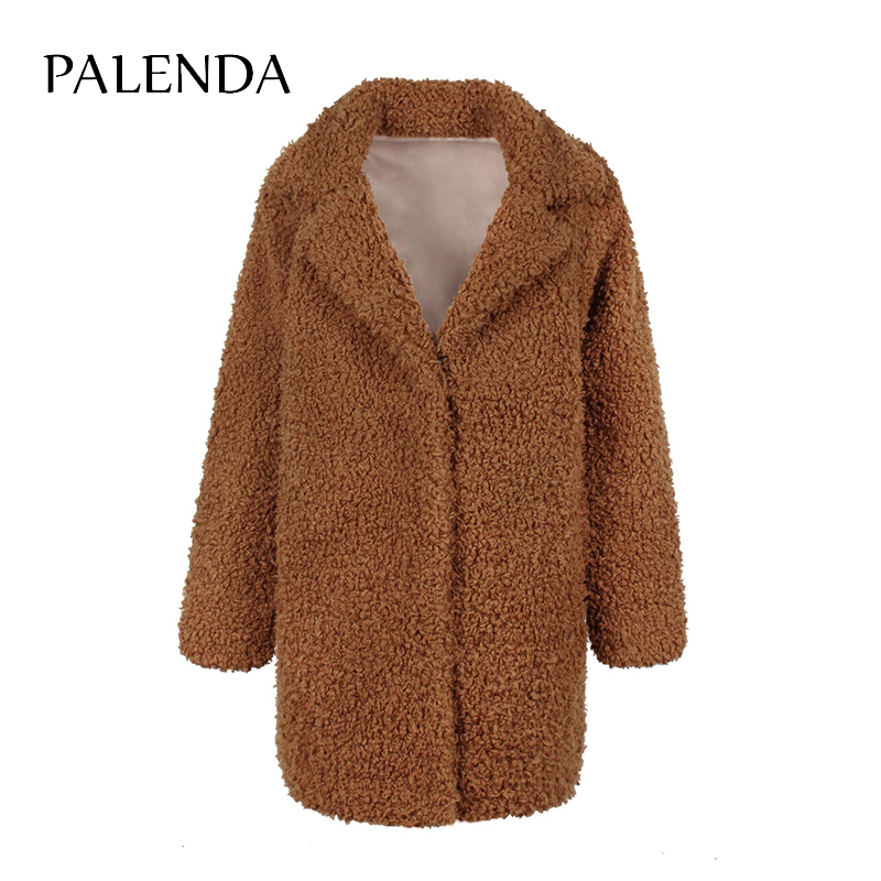 2018 New Women Faux Fur Coat Teddy Bear Fluffy Temperament Female Long Coat Brown And Black Color S-3XL Size With Pockets