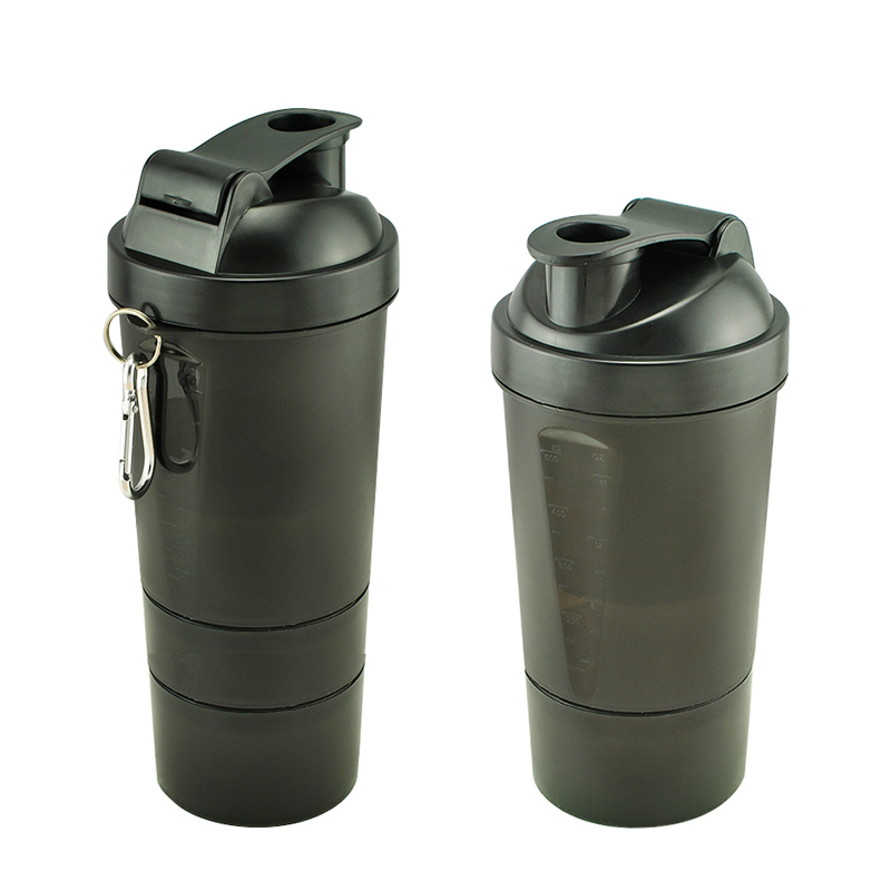 Protein Shaker Three Layers of Blender Mixer BLACK BOTTLE 500-600ML