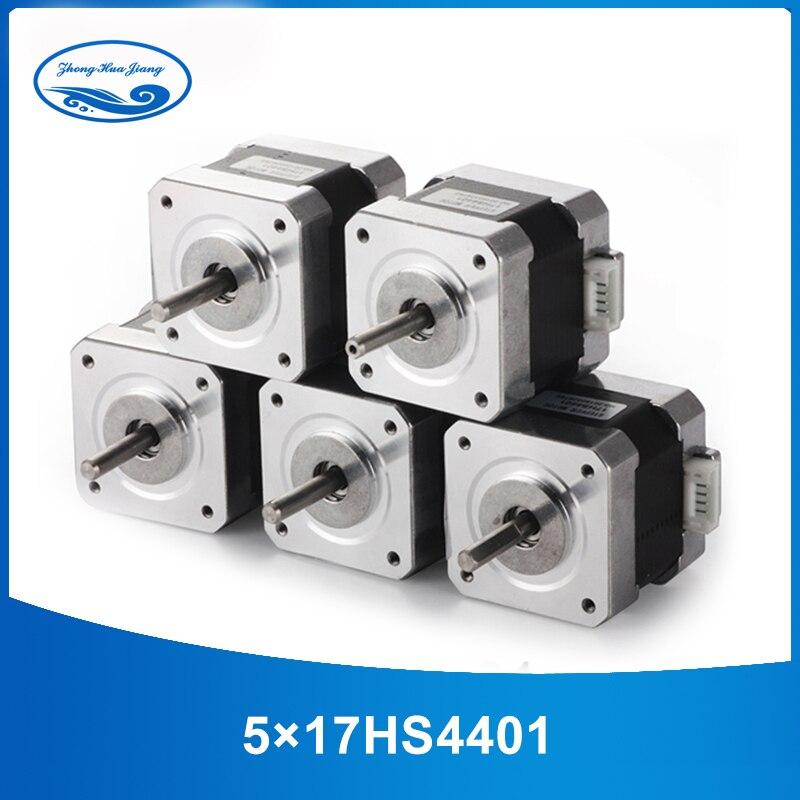 5 pcs 4-chumbo Nema17 17 42 Do Motor de Passo Nema do motor motor 42BYGH 42 1.7A (17HS4401) motor da impressora 3D e CNC XYZ