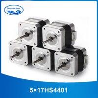 5pcs 4 lead Nema17 Stepper Motor 42 motor Nema 17 motor 42BYGH 1.7A (17HS4401) 3D printer motor and CNC XYZ