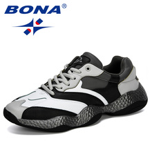 BONA 2019 New Adult Men Sneakers Spring Autumn Breathable Krasovki Shoes Trendy Casual Shoes Male Tenis Masculino Man Footwear