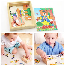 Wooden Puzzle Set Baby Educational Toys Bear Changing Clothes Puzzles Kids Childrens Toy