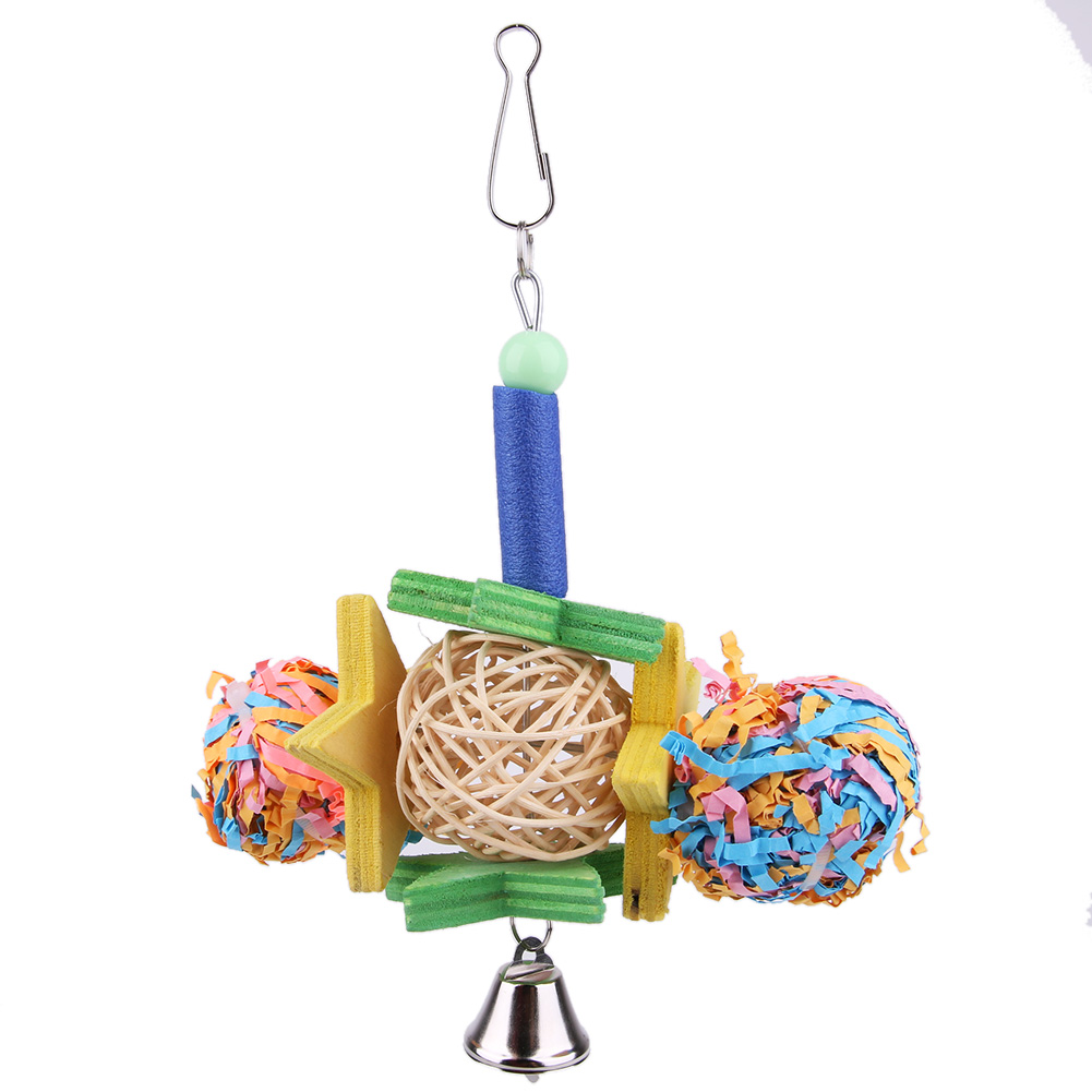 Pet Bird Parrot Parakeet Ball Wood Toy Shredder Cockatiel Conure Chew Bites Cages Craft Birds Toys with bell