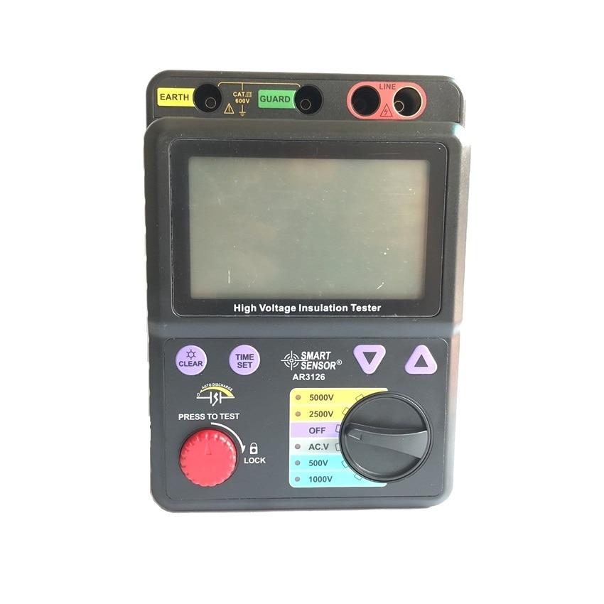 Inteligente Sensor AR3126 Digital Testador de Resistência de Isolamento de Alta Tensão 500 ~ 5000 v/0M ~ 1000 Gohm Megger Megohmmeter