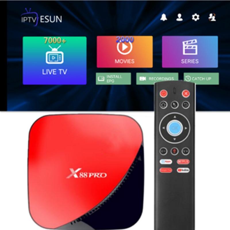 X88 PRO TV BOX Android 9.0 4GB 64GB French IPTV Belgium SUNATV Arabic Dutch Support Android m3u enigma2 Albania Italy Germany