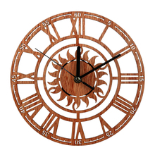 HOT SALE Vintage Wooden Wall Clock Shabby Chic Rustic Kitchen Home Antique Watches Decor