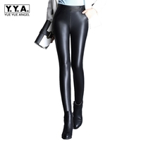 Winter New Fashion Lady High Quality Leather Pants Female Trousers Slim Fit Tight Plus Size Elastic