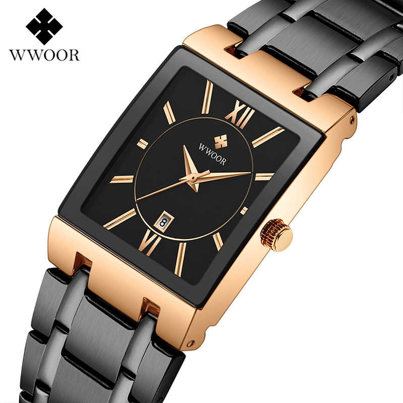 WWOOR Top Brand Luxury Mens Watches Stainless steel Gold Square Analog Quartz Watch Male Waterproof Wrist Watch Man Clock