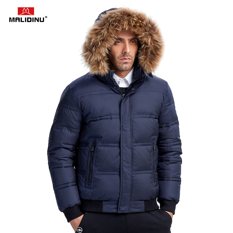 MALIDINU 2019 Men Down Jacket Winter Down Coat Thick Warm Winter Jacket Men Real Raccoon Fur Duck Down Jackets Men Wear Coats