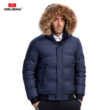 MALIDINU 2019 Men Down Jacket Winter Coat Thick Warm Real Raccoon Fur Duck Jackets Wear Coats