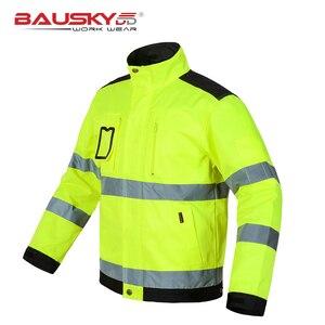 Image 3 - Bauskydd גבוהה נראות גברים חיצוני חולצות workwear רב כיסים בטיחות רעיוני עבודה מעיל משלוח חינם