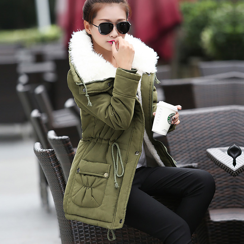Female Coat Women Jacket Velvet Zipper New-Fashion Warm Cotton Casual Solid Parka