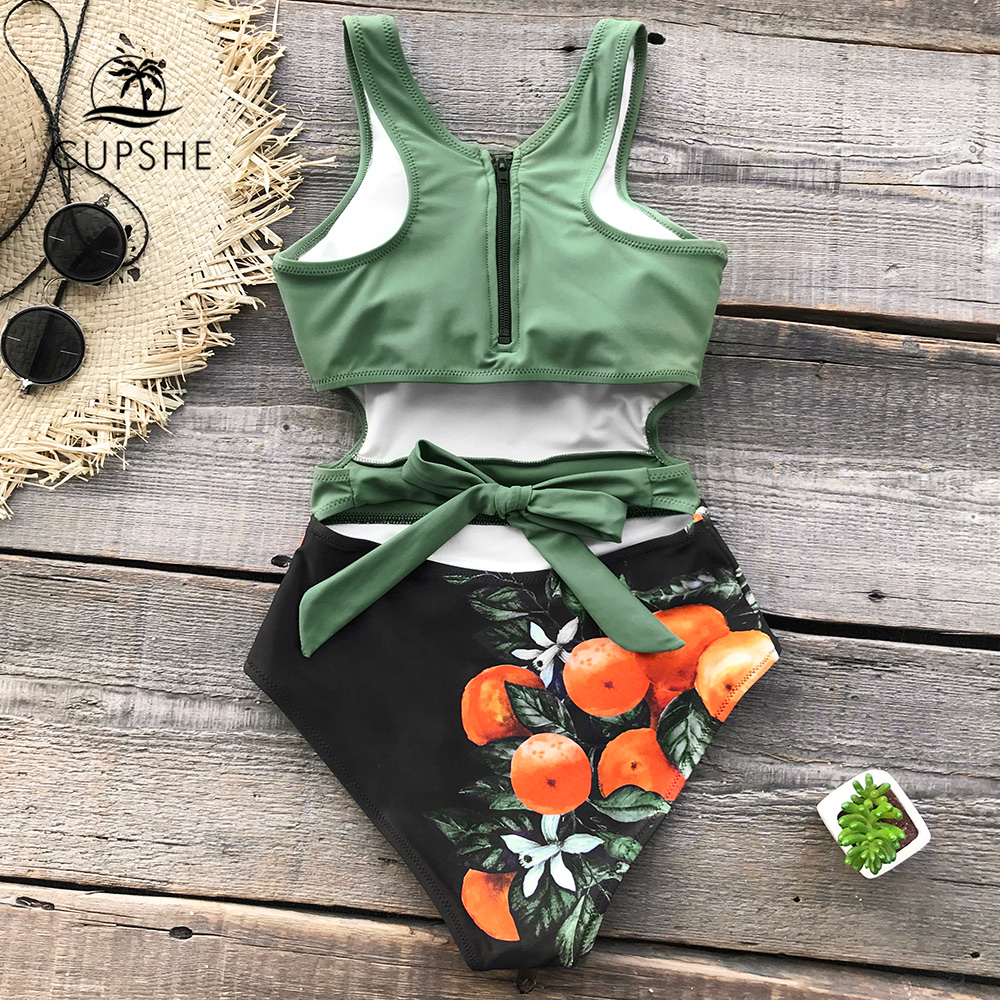 CUPSHE Green Miss U Print One-piece Swimsuit Women Tied Bow Cutout Tank Monokini 2019 Girl Beach Bathing Suit Swimwear 1