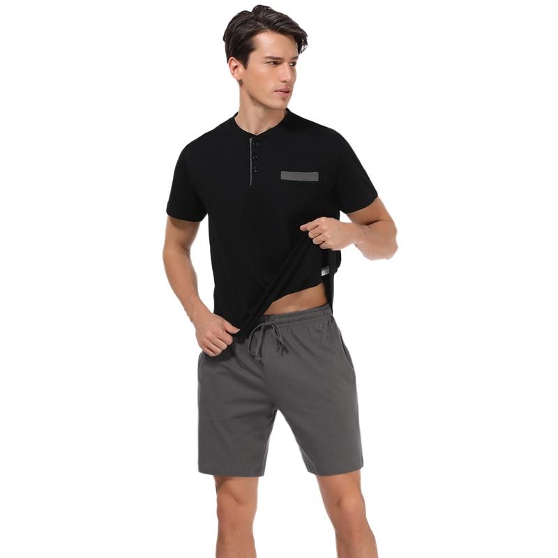 Hawiton Summer Men Cotton   Pajamas   Short Sleeve Male   Pajama     Set   Men Sleepwear Suit Casual ottom Homewear Clothing Nightwear