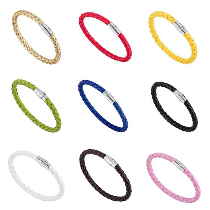 Wholesale Men's Magnetic Buttons, Woven Leather Bracelet/magnetic Buckle Leather Cord Bracelet Pulseira Men's