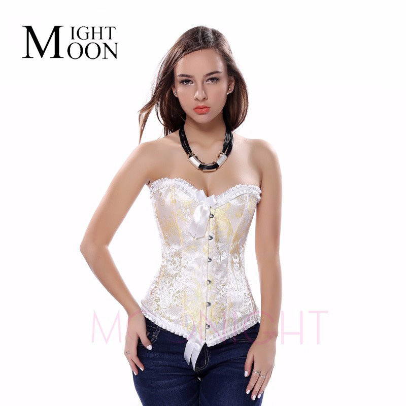 MOONIGHT Sexy Floral Overbust Corselet Women Corsets and Bustiers Waist Embroidery Women Corset Top