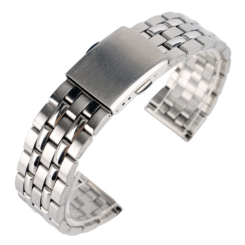 18/20mm Stainless Steel Bracelet Silver Solid Link Fold Clasp Men Women Watchband Watch Band Wrist Strap Fashion +2 Spring Bars black 20mm band width rubber wrist watch band strap stainless steel pin buckle 2 spring bars