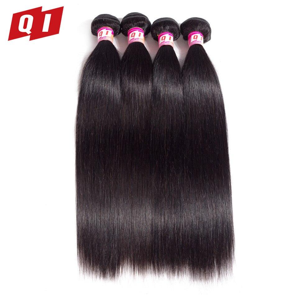 QI Hair Straight Brazilian Hair Weave Bundles Non Remy Human Hair Bundles Double Weft Hair Extension Natural Color 8-26 Inch