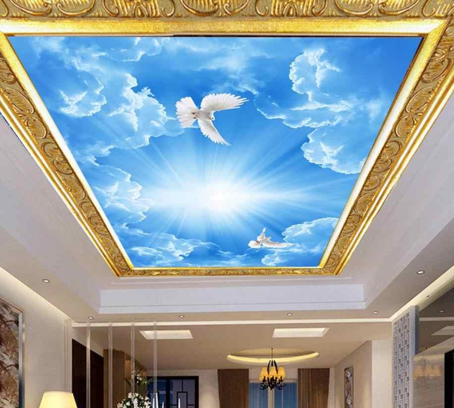 3D потолочная плитка голубое небо и белые облака на заказ hd 3d потолочная живопись обои украшение дома