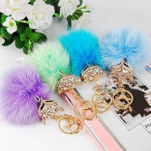 Sexy Fox Rhinestone plush pom handmade Cute fur ball key chain keychain for women bag handbag