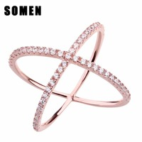 Croce Cubic Zirconia Inlay In Oro Rosa 925 Sterling Silver Ring donne Femminile Gioielli bague femme bague argent 925 bijoux marque de