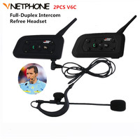2PCS V6C 1200M Wireless Bluetooth Sccoer Referee Intercom Headset Full Duplex 2User Interphone Max 6Users With