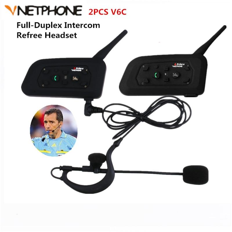 Vnetphone 2PCS 1200M Wireless Bluetooth Intercom Full Duplex Two-way Football Referee Coach Judger Arbitration Earhook Earphone
