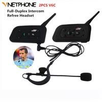 2PCS V6C 1200M Wireless Bluetooth Sccoer Referee Intercom Headset Full Duplex 2User Interphone Max 6Users With