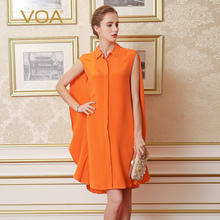 VOA Super Silk Long Women Shirts orange and red Color Turn-down Collar Sleeveless Loose ruffles Blouse B5519