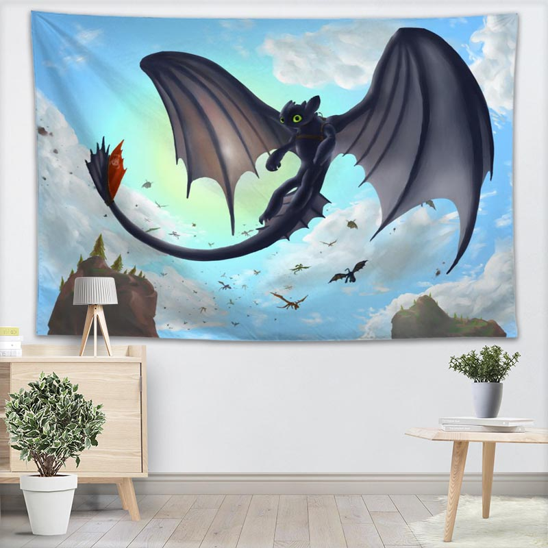 Custom How To Train Your Dragon Wall Hanging Tapestry Sheets Home Decorative Tapestries Beach Towel Blanket Cloth Wall Tapestry