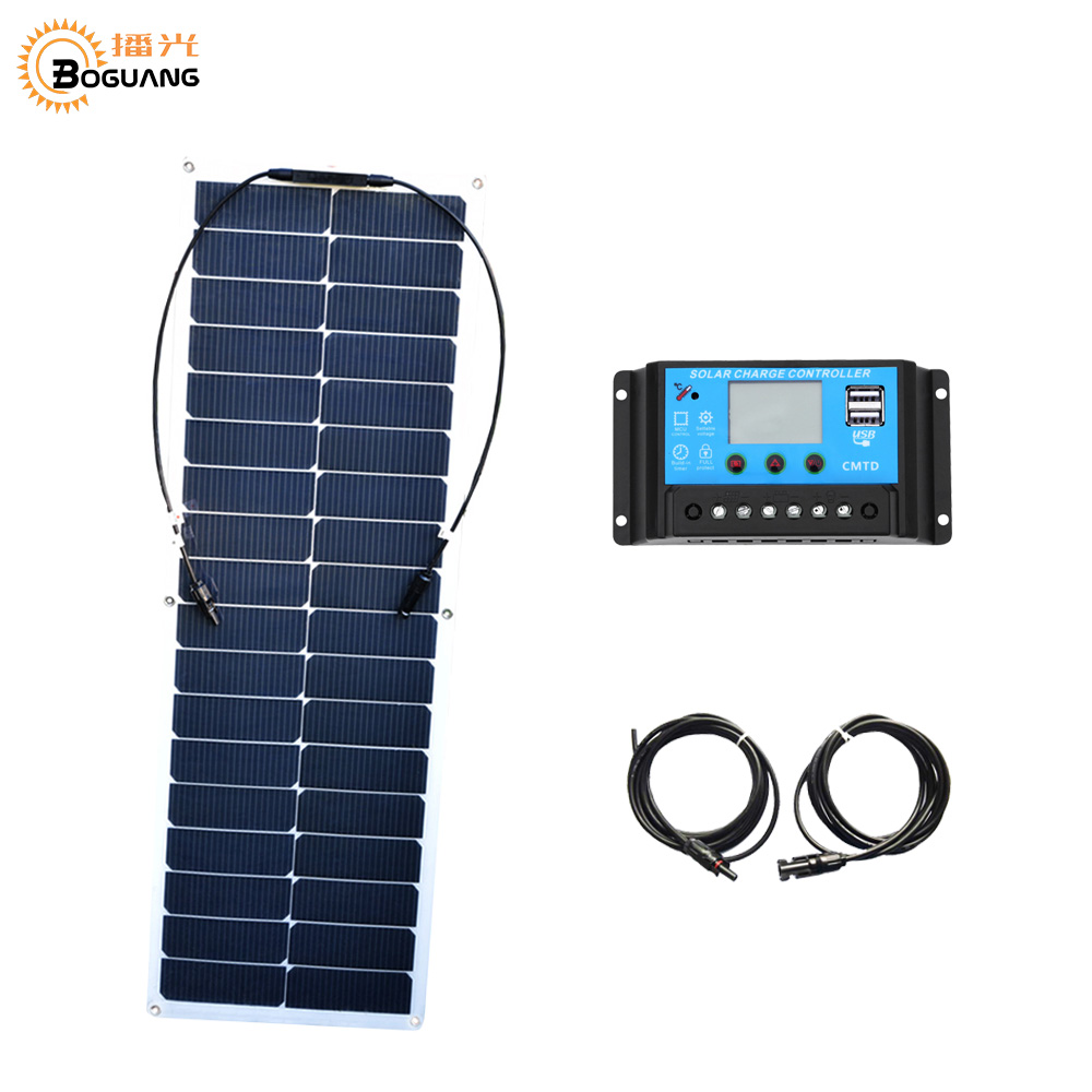 BOGUANG flexible solar panel cell 50w 10A PMW USB controller MC4 connector for 12v battery RV yacht caravan ourdoor charger 100w 12v monocrystalline solar panel for 12v battery rv boat car home solar power