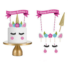 1set Handmade Pink Unicorn Party Cake Topper Wedding Cupcake Decoration Happy Birthday Party Supplies Baby Children Party Decor(China)
