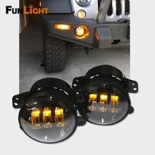 A Pair 4 inch Round Front  Yellow Fog Light /Driving light 30W 3000K LED Fog Headlight For Jeep Wrangler 2007-2016