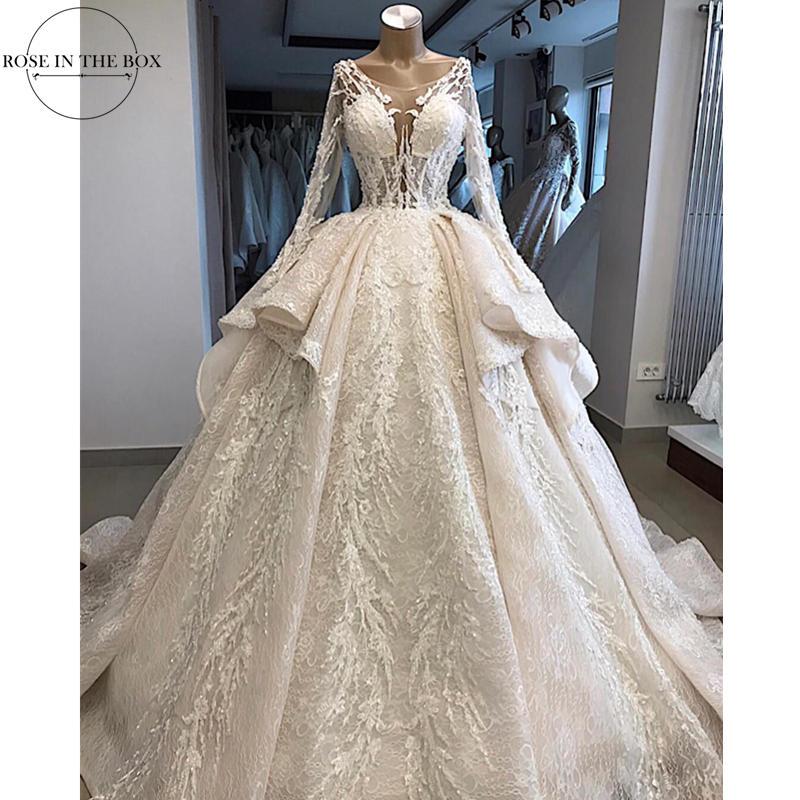 Robe De Mariee Luxury Lace Appliques Wedding Dress 2019 Illusion Long Sleeve Wedding Gowns Court Train Bridal Dress