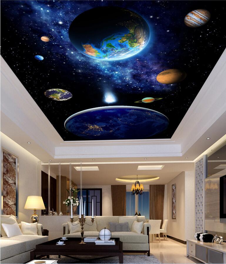 14 5 48 De Reduction Personnalise Photo 3d Plafond Peintures Murales Papier Peint Bleu Ciel Planete Photo Chambre Decoration Peinture 3d Peintures