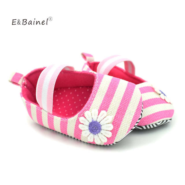 E&Bainel Baby Shoes Striped Little Daisy Baby Girl Shoes Princess Crib  Shoes 0-1 Years Old Toddler