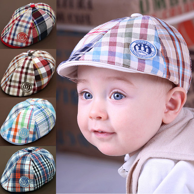 New arrival Child hat baseball cap baby beret caps popular plaid  peaked sun hat baby pocket hat b 5 colors