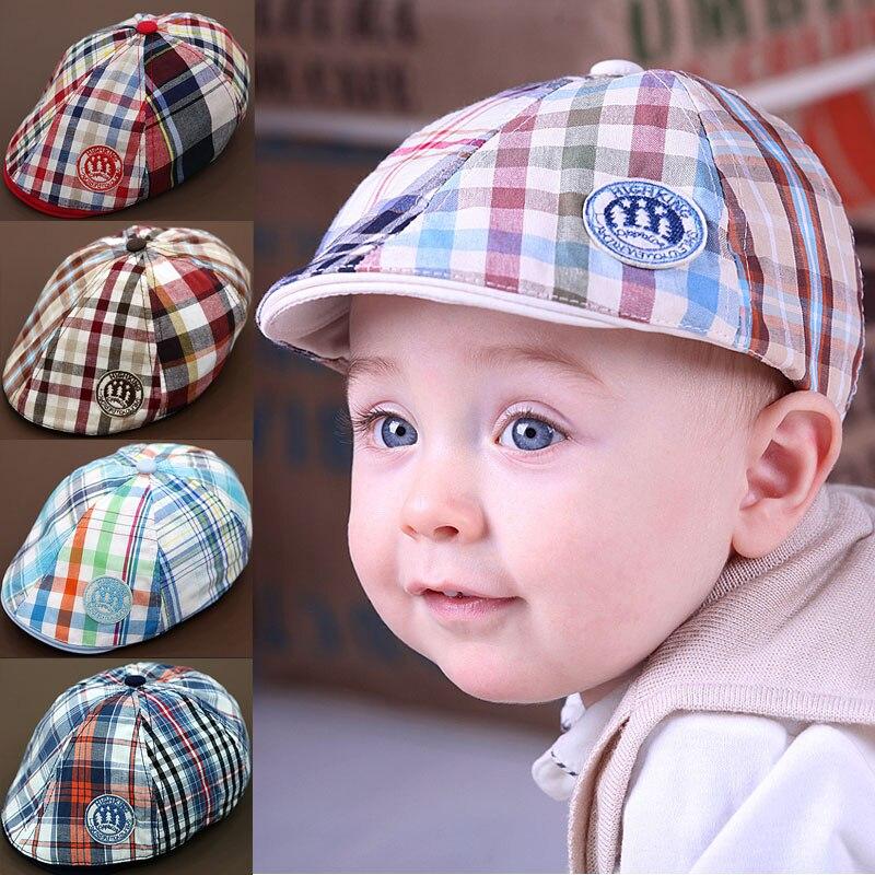 Nuevo niño de la llegada gorra de béisbol del sombrero gorros boina a  cuadros populares enarboló el sombrero del sol sombrero del bebé del  bolsillo 5 colors ... 3ee046796d4