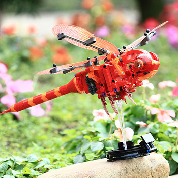 3D Simulation insect DIY Red Dragonfly Building Blocks Collection gift Spell Inserted Decompression Clicking Technic Bricks