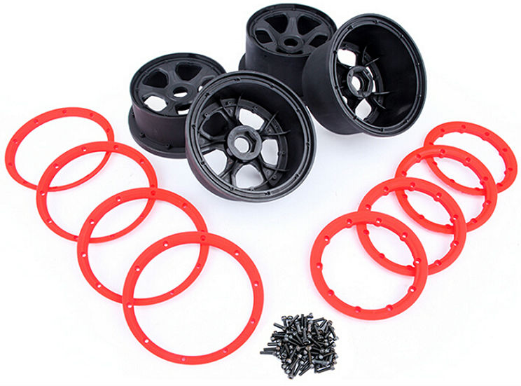 1/5 Baja 5B Wheel Hub & Beadlock 4pcs set  for hpi km rv baja 5b ss main pump combination for gtb 4 wheel hydraulic brake set fit for 1 5 rc car hpi baja 5b ss