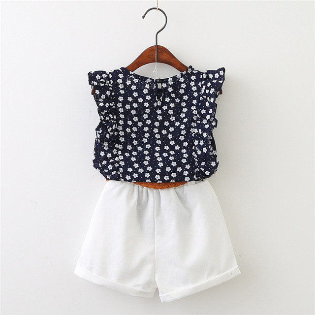 KAVKAS Casual Flowers Blue T-shirt Pants Girls Clothing