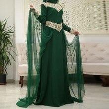 vestidos de festa elegant muslim evening dresses 2017 long sleeve hijab women pageant gown green tulle formal party dress
