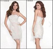 Weiß Kurze Spitze Junior Prom Kleider Sexy Backless Bogen Tarik Ediz Partei Cocktail Homecoming Abschluss 2015 Anlass Kleider