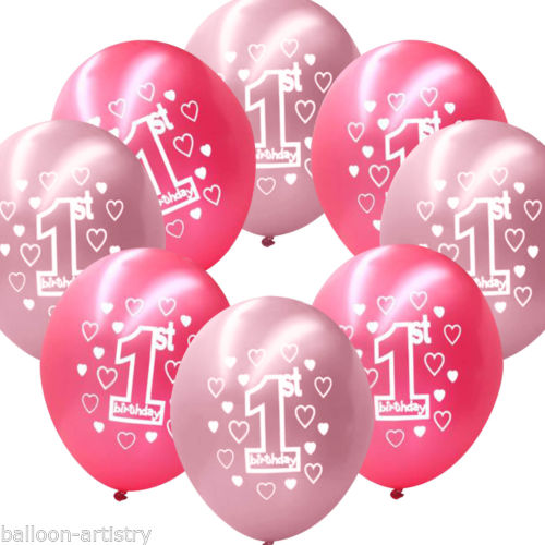10pcs Baby 1st First Birthday Balloons Girl Boy Printed Number 1 Birthday Party Decoration