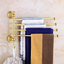 Folding Movable Bath Towel Bars Copper Bathroom Towel Racks Antique Towel Hanger Wall Mounted 2-4 Layers Rotatable Towel Holder new and brief 2 4 swivel towel bars copper wall mounted bathroom towel rail rack gold bathroom towel holder towel hanger