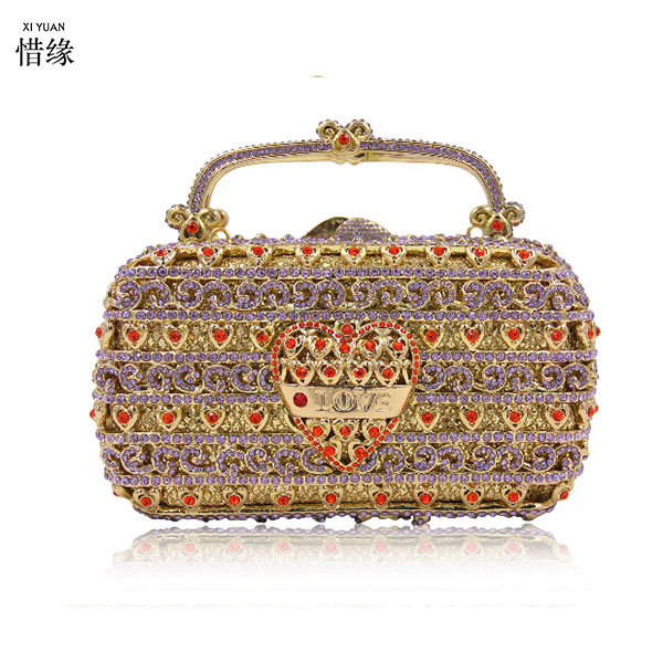 XIYUAN BRAND gold love print Crystal Clutch Evening Purse Bag Women Formal Dinner Handbag Wedding Bridal Purse for Valentine day