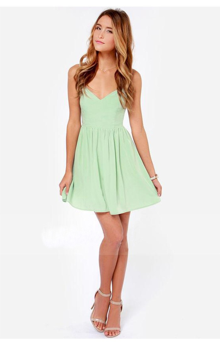 f4d031431a65 Sexy Mint Green Sleeveless Backless Chiffon Mini Dress 2015 Fashion Women  Summer V Neck Butterfly Casual Tank Tops Dress-in Dresses from Women's  Clothing on ...