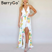 BerryGo Lace Up V Neck Floral Print Long Dress Women Backless Cross Maxi Summer Dress Boho